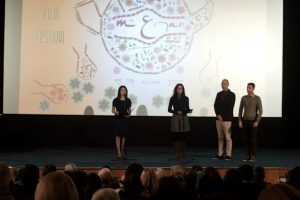 H. E. Dr. Nargiz Gurbanova (left) makes her speech at the opening of the official  night of Azerbaijan at the Sofia MENAR Film Festival.