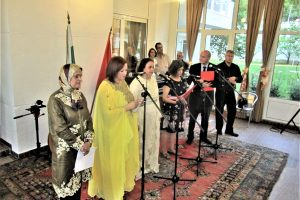 The Evening of Moroccan Poetry at the residence of H. E. Zakia El Midaoui (centre), to the left ar poets Naziha Al Mountassir and Nadia Yakin, and to the right are Gergina Dvoretzka, Khairi Hamdan and Ivan Hristov