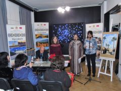 An Evening of Moroccan Poetry at the Journalist Club: Greetings of H. E. Mrs. Zakia El Midaoui, translated by Mrs. Nelly Valkova from the Embassy of the Kingdom of Morocco (right). To the left are Mrs. Gergina Dvoretzka, President of the Europe and the World Foundation, and Mr. Khairi Hamdan, poet and translator